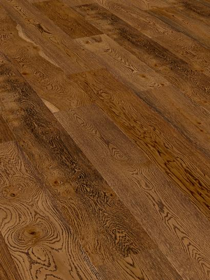 Oak, embossed, burnt umber, UV oiled, engineered, wooden flooring