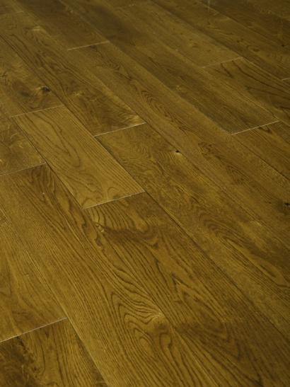 Oak, golden stained, UV oiled engineered wooden flooring